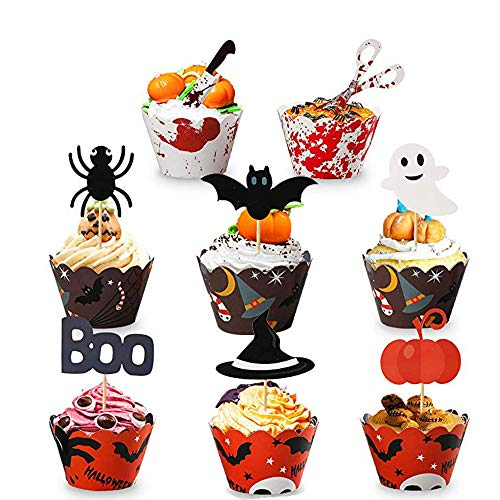 Halloween Cake Delivery (GRULLIN 48 Pcs Halloween DIY Pastries Cupcake Toppers Wrappers -Bloody Knife Scissors Spider Bat Pumpkin Ghost Decorative Small Cake Paper Cup & Toothpicks for Halloween)