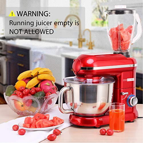 VIVOHOME Electric 650W Multi-functional 6-Speed Tilt-Head Stand Mixer Meat Grinder Juice Blender with 6 Quart Stainless Steel Bowl Red ETL Listed by VIVOHOME (Image #6)