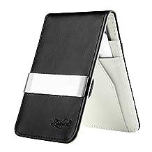 Insten Horizontal Genuine Leather Money Clip Wallet, Black/ White