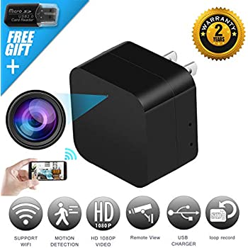 Mini Spy Hidden Camera WiFi USB Charger, Wireless 1080P Night Vision Spy Camera Nanny Cam, Portable Hidden Video Camera with Loop Recording for Security ...