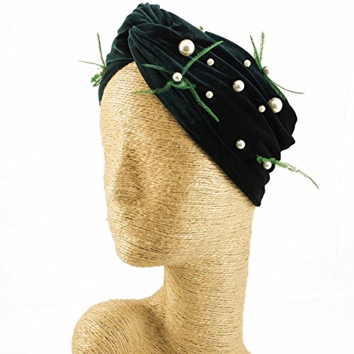 Fascinator, Velvet Headbands, Millinery, Worldwide Free Shipment, Delivery in 2 Days, Customized Tailoring, Designer Fashion, Pearl, Head wrap, Boho Accessories, Green, Beaded, Feather, Jewelled by Elipeacock