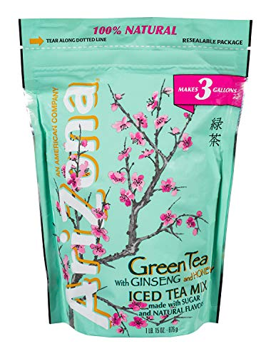 AriZona Instant Green w/Ginseng and Honey Iced Tea Mix 3 Gallon (31 oz) Bag, Made with Real Sugar, Just Add Water for a Delicious Iced Tea Beverage (Arizona Green Iced Tea)