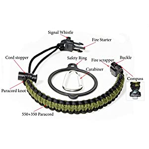 WaterFit Paracord Carrier Strap Cord with Safety Ring and Carabiner for 12-Ounce to 64-Ounce Wide Mouth Water Bottles, ArmyGreen/Compass+FireStarter