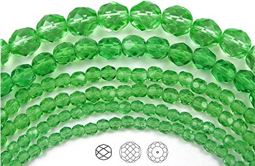 3mm (135 beads) Peridot, Czech Fire Polished Round Faceted Glass Beads, 16 inch (Genuine Peridot Crystals)