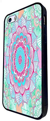 096 - Colourful Vintage Aztec Leafs Love And Peace Geometric Art Design iphone SE - 2016 Coque Fashion Trend Case Coque Protection Cover plastique et métal - Noir