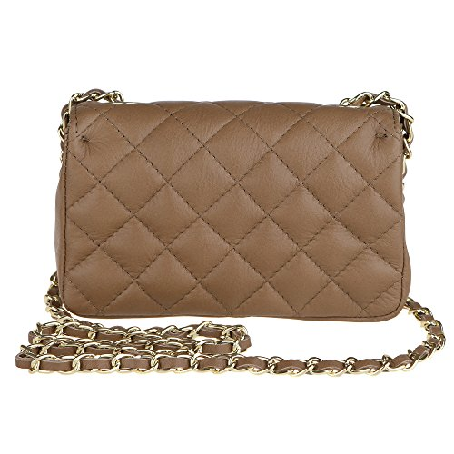 19x13x6 Made Chicca Bag Clutch Mud Cm Shoulder in Genuine Woman Quilted Leather Borse Clutch Italy in OvAwOfq