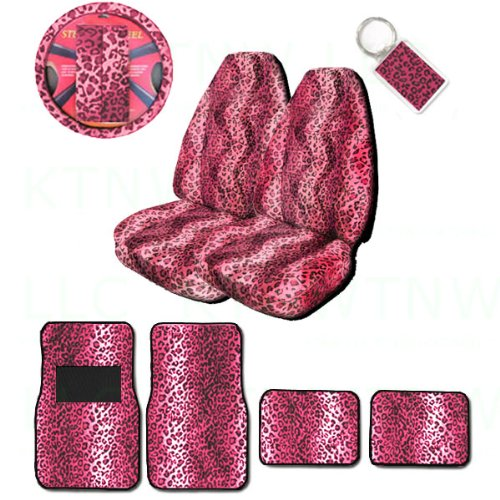 (A Set of 2 Universal Fit Animal Print High Back Bucket Seat Covers, Wheel Cover, 2 Shoulder Pads 4 Floor Mats, and 1 Key Fob - Leopard Pink)