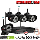 ANRAN 4CH 1080P HD NVR Wireless Security CCTV Surveillance Systems WIFI NVR Kits With Four 1.3MP 960P Wireless Indoor Outdoor IP Cameras,P2P,Free Remote View,Night Vision, 1TB Hard Drive Pre-installed