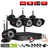outdoor cameras wireless - ANRAN 4CH 1080P HD NVR Wireless Security CCTV Surveillance Systems WIFI NVR Kits With Four 1.3MP 960P Wireless Indoor Outdoor IP Cameras,P2P,Free Remote View,Night Vision, 1TB Hard Drive Pre-installed