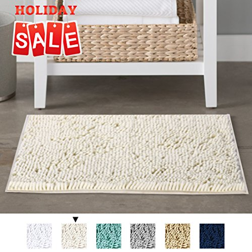 Serenity Small Rug (Non-Slip Microfiber Bath Rugs Chenille Floor Mat Ultra Soft Washable Bathroom Dry Fast Water Absorbent Bedroom Area Rugs Indoor Mats for Entryway, Cream 17 inches by 24 inches)