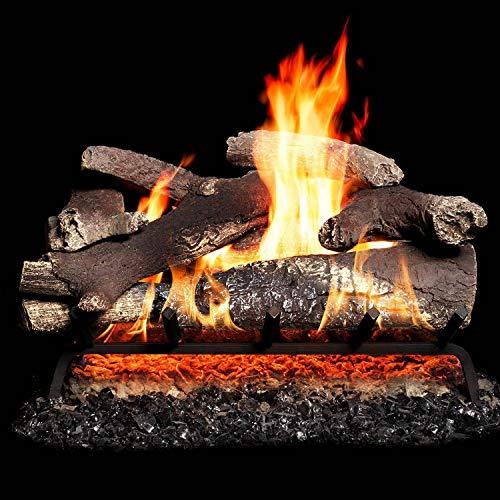 GasLogGuys 24 Inch Vail Mountain Charred Oak Vented Natural Gas Log Set + H-Burner + Basic On/Off Remote