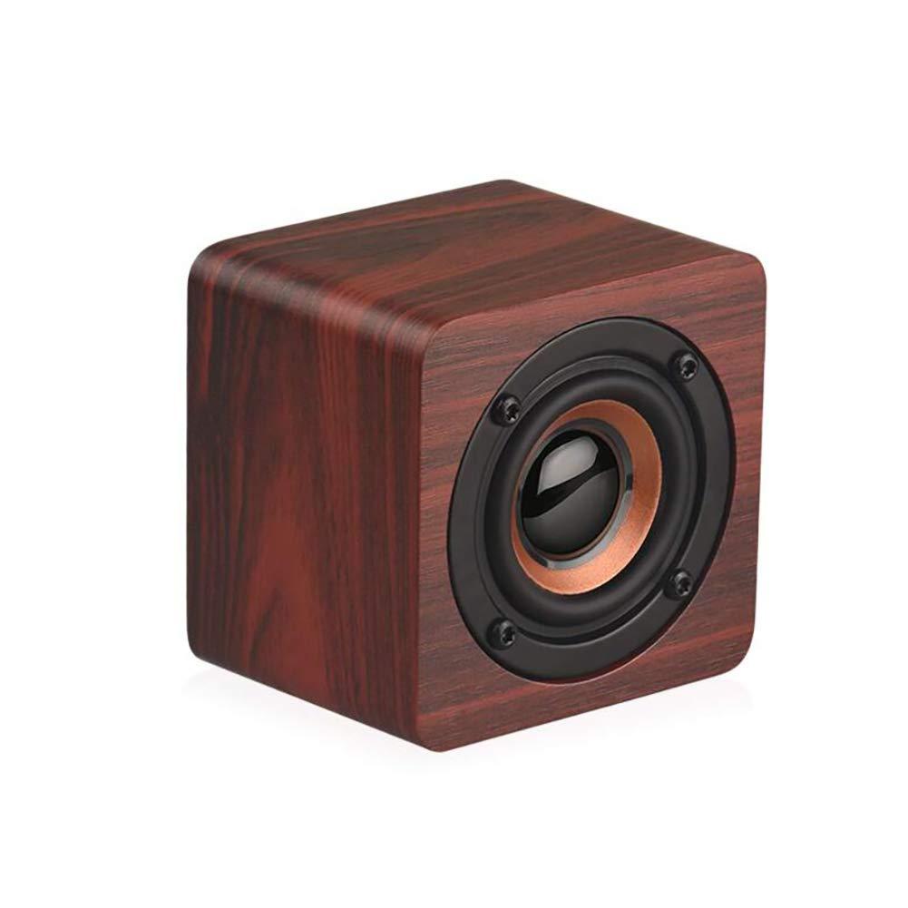 ZYG.GG Bluetoothスピーカー ポータブル木製 ミニチュアワイヤレスステレオ 強化された低音レゾネーター HiFiサウンドエフェクト スマートフォンデスクトップコンピュータなどに対応 家族のアウトドアに最適。, ブラウン, 435-668-607  ブラウン B07NQ886J4