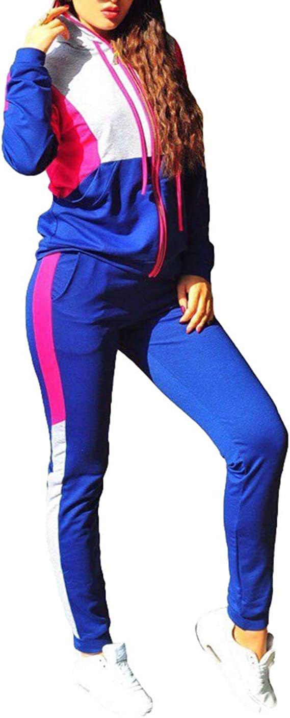 Kunfang Moda Mujer 2 Piezas Bloque Color Sudadera con ...