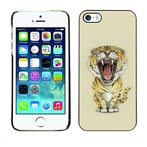 Housse Coque Étui de protection Anti-Scratch Effacer pour Apple Iphone 5 / 5S / Business Style Meow Big Tiger Lion Cat