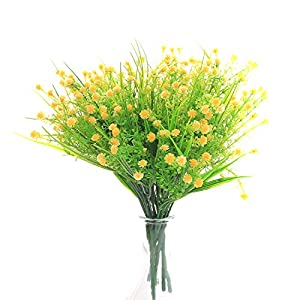 SVEN HOME Artificial Plants Baby's Breath Flower 6 Bundles Fake Plastic Greenery Shrubs Water Plants Grass Bushes Flowers Rose Filler Indoor Outside House Garden Office Wedding Decor(Yellow)