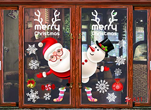 Decorate Door For Christmas (YuBoBo Extra Large Colorful Christmas Snowflake Widows Clings Decoration Stickers, Removable, Xmas Door Decorate Shoppe Decoration Merry Christmas, Snowflake Sled Element)
