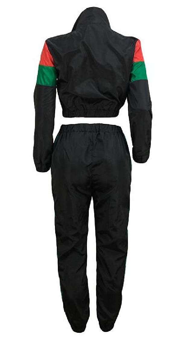 M/&S/&W Women Windproof Two Pieces Fashion Stitch Zipper Up Collision Color Tracksuits Outfit