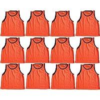 BlueDot Trading Adult Sports Pinnie Scrimmage Training Vest, Orange, 12 Pack