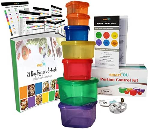 21 Day Fix Portion Control Containers Kit by smartYOU - Nutrition Diet, Multi-Color Coded Weight Loss System. Complete Guide + PDF Planner + Recipe eBook and Tape Measure - BPA Free - 7 PC