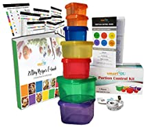 21 DAY smartYOU 7 Piece Portion Control Containers Kit + COMPLETE GUIDE + 21 DAY PLANNER + RECIPE eBOOK + TAPE MEASURE, BPA FREE Color Coded Meal Prep System for Diet and Weight Loss
