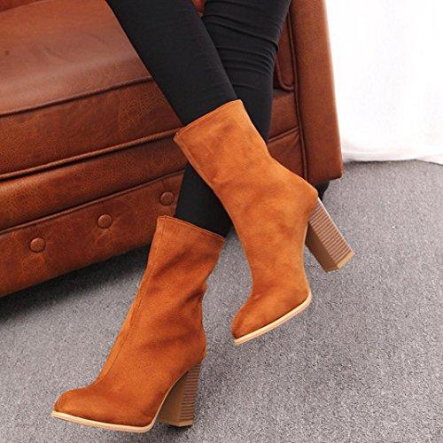 OverDose Damen Schnalle Warme Stiefel High Heels Winter Martin Stiefel Schuhe Schneestiefel A-Yellow