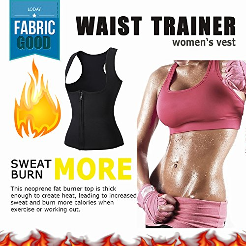 c0a14c8a6ce LODAY Women Neoprene Sauna Sweat Waist Trainer Vest with Zipper for Weight  Loss Gym Workout Body Shaper Tank Top Shirt  Amazon.com.au  Fashion