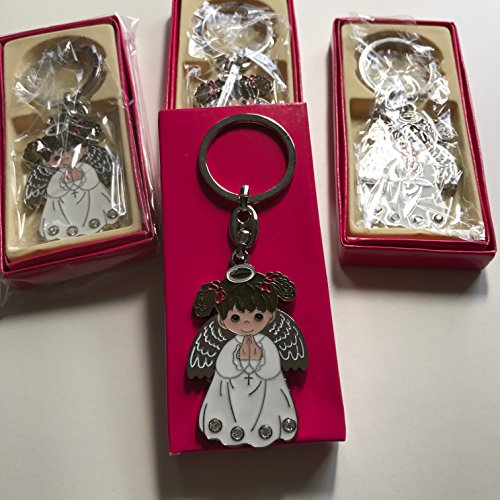 (12 WHITE ANGEL GIRL Keychain First Communion BAPTISM Party Favor White)