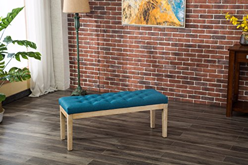Roundhill Furniture CB171BU Mod Urban Style Solid Wood Button Tufted Fabric Dining Bench, Blue