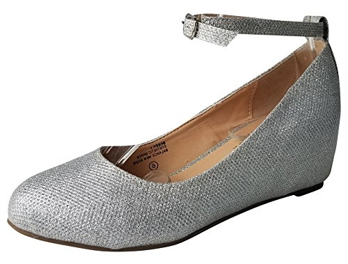 Chase & Chloe Women's Strappy Mary Jane Wedge Platform Pump (10 B(M) US, Silver ()