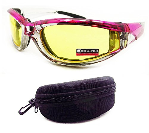 Pink Chrome Motorcycle Day Night Transition Glasses Goggles UV Adjusting Hard Case (Pink Goggles Chrome)