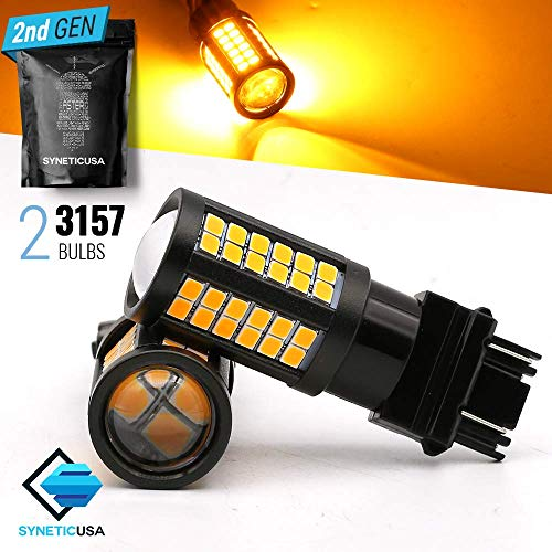 3157 High Power Projector White/Amber Dual Color Switchback DRL LED Turn Signal Light Bulbs