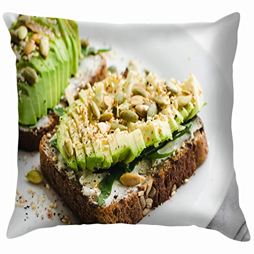 Healthy Avocado Toasts Breakfast Lunch Rye Food and Drink Throw Pillows Covers Accent Home Sofa Cushion Cover Pillowcase Gift Decorative 18X18 Inch ()