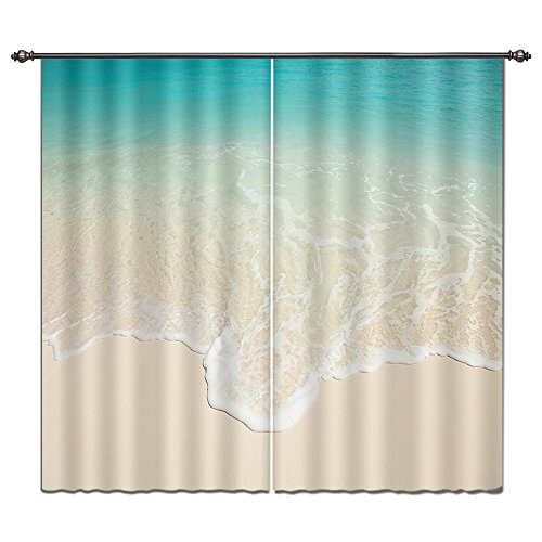 LB Ocean Theme Window Curtains, Blackout Curtains for Bedroom and Living Room, Image of Simple Style Sea Meets Sand 55x65 Inches (2 Panels -