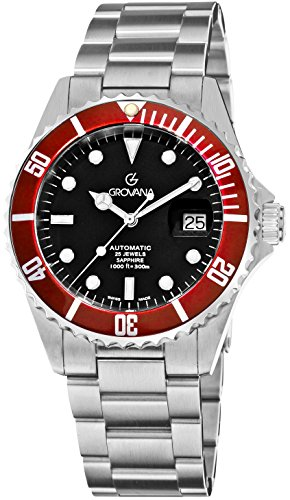 Grovana Diver Watch Automatic Swiss - Mens 42mm Analog Black Face with Second Hand and Date - Metal Band Stainless Steel Diving Watch - Sapphire Crystal Dive Watches for Men Waterproof 300M 1571.2136 ()