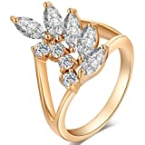 Women Ring Leaf Shape Round Ring Copper White Zircon Ring Fashion Shiny Ring Jewelry Gift for Her Lady Girl 4 Sizes(6#)