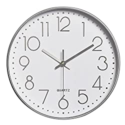 Lucky Monet Modern Wall Clock Classic Wall Clock Non-Ticking Battery Operated 12 Round Clock Arabic Numeral for Home Décor Bedroom Living Room Office Kitchen (Silver)