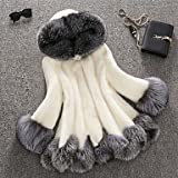 GS~LY Women Faux Fur Top , Lined Mink fur coat female fox fur hooded cultivate one's morality in the long coat Plus size