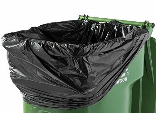 PlasticMill 100 Gallon Despondent Duty 1.3 Mil Trash Can Liners for Outdoor, Municipal, or Township Garbage Cans 50 Bags/case