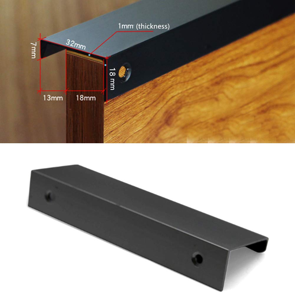 Concealed Finger Pull Handle for Home Kitchen Door Drawer Cabinet Modern Style Finger Edge Pull Tiberham 4 Pack Heavy Duty Matte Black Door Handles 64 mm Hole Centre