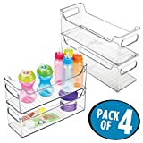 mDesign Baby Nursery Organizer Bins for Clothes, Diapers, Toys - Pack of 4, 5'' x 5'' x 14.5'', Clear