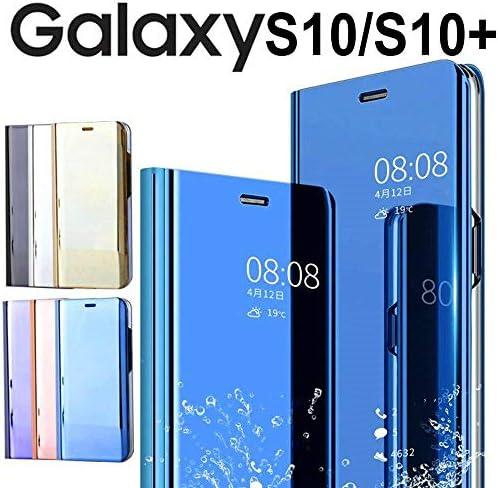 Galaxy S10 ケース 手帳型 Galaxy S10 ケース, 鏡面 ミラー 薄い 半透明ウィンドウズ スタンド メッキ