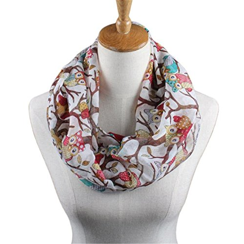 Janice Davis Scarf Women Owl Pattern Printing Cute Shawls And Scarves O Ring Pattern White