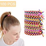 Elastic Hair Ties 100Pcs Hair Braided Scrunchies Stretch Bands No Crease Rope Ponytail Holder Hair Accessories for Girls Women(Multicolor)