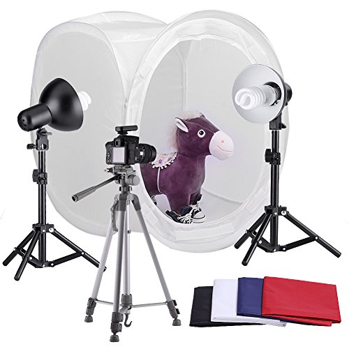 """Neewer® Table Top Round Photography Studio Tent Lighting Kit, Kit includes: (1)24x24""""/60x60cm Round Photo Studio Light Folding Tent + (4)Colored Internal Backgrounds(Black + White + Red + Blue) + (2)18""""/45cm Table Top Light Stands + (2)Light Heads with Reflector + (2)110V 45W Day-Light Studio Light Bulbs + (1)Adjustable 50""""/127cm Camera Tripod Stand"""