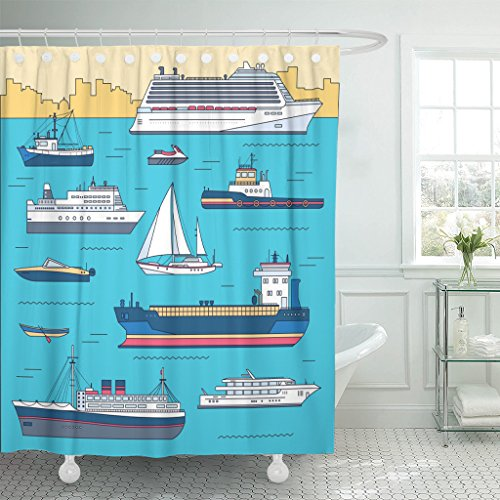 MAYTEC Shower Curtain Thin Line Ship Flat Yacht Scooter Cargo Steamship Ferry Fishing Boat Tug Bulk Carrier Vessel Pleasure Waterproof Polyester Fabric 72 x 72 inches Set with Hooks