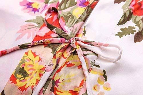 Floreale A Giovane Lunghe Unica Pink Kimono Light Blush Scollo Taglia Robe V Maniche T Stampa Shirt Con Donna Blaugrün Da CFqwX0Y