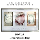 Bonus! Exclusive Stainless Steel Baby Hand & Foot Print Kit Gift for Newborn Girl and boy Baby Shower Gift Personalized Baby Gift Baby Footprint Kit Memorable Nursery Decor