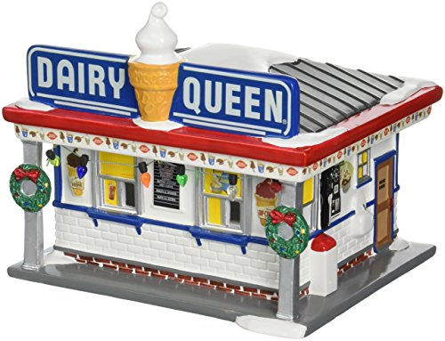 Department 56 Snow Village Dairy Queen Lit Building (Snow Village Snow)