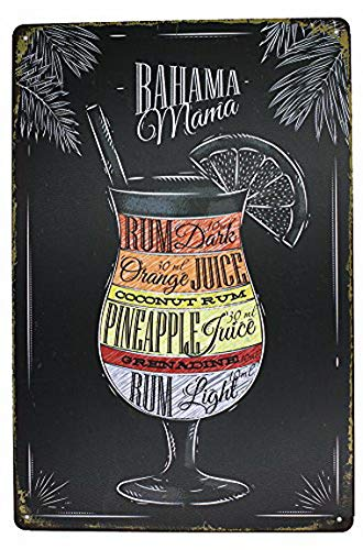Ugtell Bahama Mama Rum Orange Pineapple Juice, Drink Poster Metal Tin Sign, Vintage Plaque Pub Bar Dining Room Home Wall Decor -