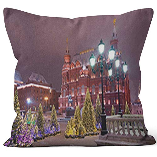Nine City Christmas Trees at The Manezhnaya Square Burlap Pillow,HD Printing for Couch Sofa Bedroom Livingroom Kitchen Car,40
